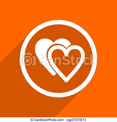 love icon. Orange flat button. Web and mobile app design illustration - csp37074513