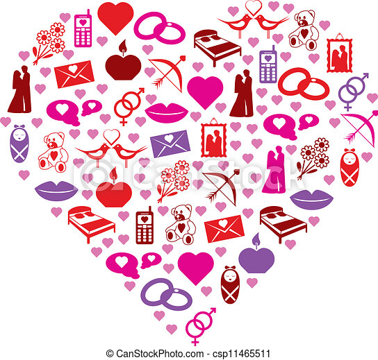 love icons in heart - csp11465511