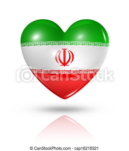 Love Iran Heart Flag Icon Love Iran Symbol 3d Heart Flag Clip