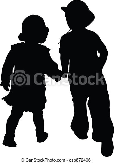 472bea7cc01 Love is... Silhouettes of boy in cowboy hat and girl running. retro style.  vector eps8 .