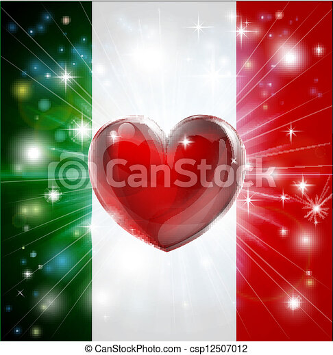 Love Italy flag heart background - csp12507012