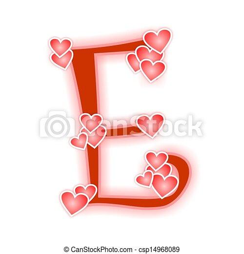 Love letter alphabet e love alphabet decorated with hearts love letter alphabet e csp14968089 altavistaventures Images