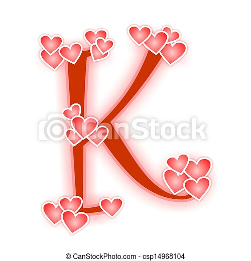 Love Letter Alphabet K Love Alphabet Decorated With Hearts