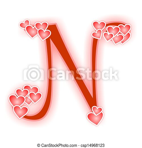 Love Letter Alphabet N Love Alphabet Decorated With Hearts