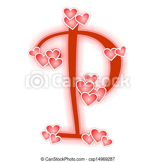 love letter, alphabet p. love alphabet decorated with stock
