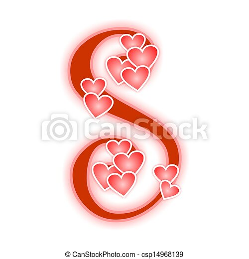 Love Letter Alphabet S Love Alphabet Decorated With Hearts