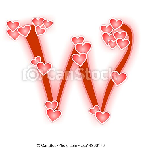 Love Letter Alphabet W Love Alphabet Decorated With Hearts