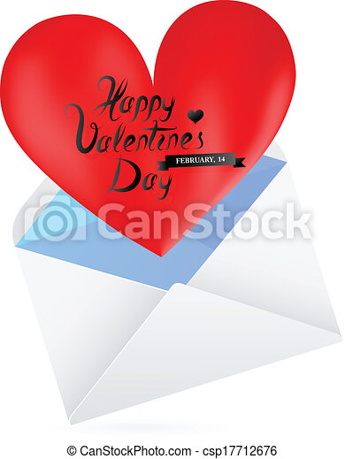 St Valentines Day Greeting Card Template Love Letter Eps 10