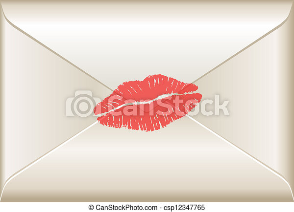 Love letter with lipstick kiss - csp12347765