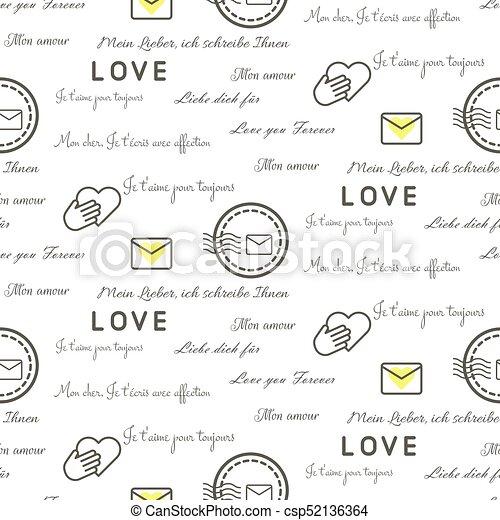 Love letters seamless vector pattern on white. romantic... clip art ...