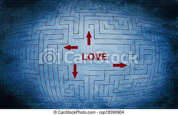 Love maze concept - csp18390904