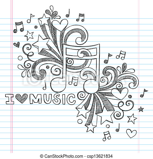 Love Music Sketchy Vector Doodles - csp13621834