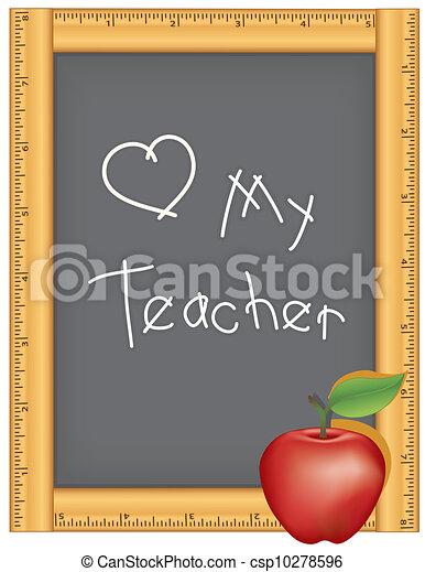 Love My Teacher Ruler Chalkboard Chalkboard With Wood