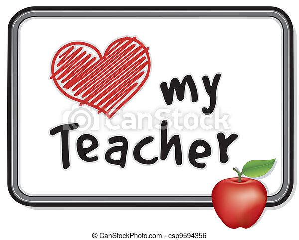 Love My Teacher Whiteboard, Apple - csp9594356