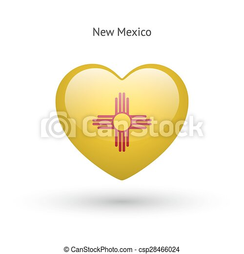 Love New Mexico State Symbol Heart Flag Icon Vector Illustration