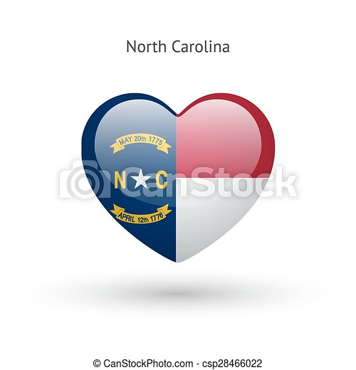 Love North Carolina State Symbol Heart Flag Icon Vector Illustration