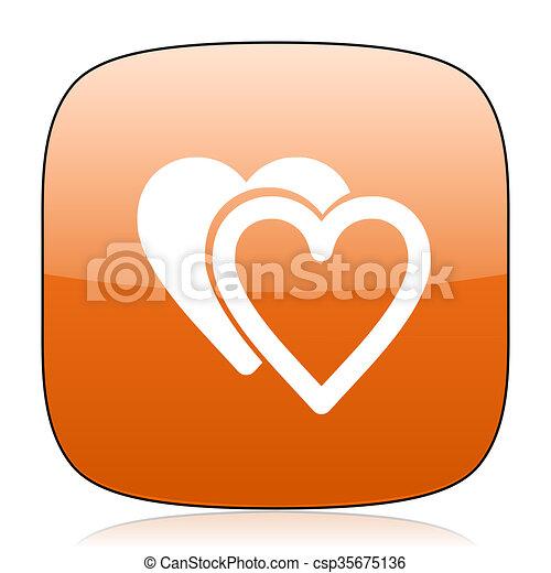 love orange square web design glossy icon - csp35675136
