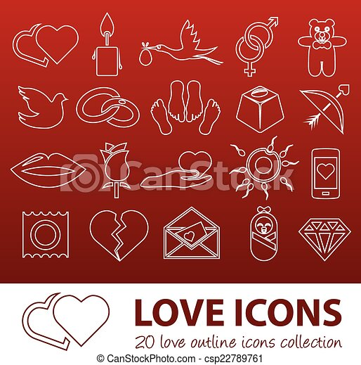 love outline icons - csp22789761