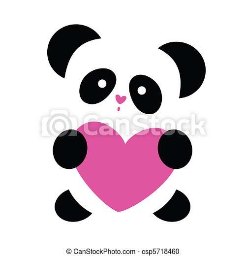 Top Love-panda. Love the panda with the heart on a white vector  NR95