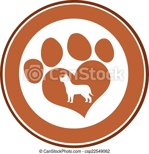 Love Paw Print Brown Circle Banner - csp22549062