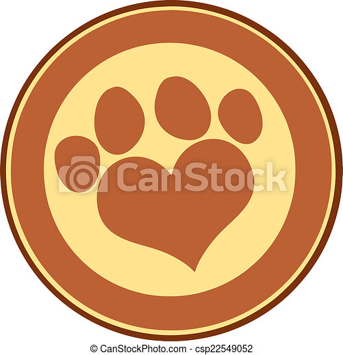 Love Paw Print Brown Circle Banner - csp22549052