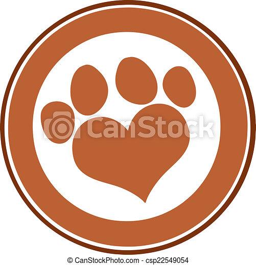 Love Paw Print Brown Circle Banner - csp22549054