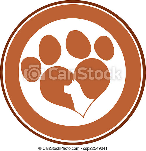 Love Paw Print Brown Circle Banner - csp22549041