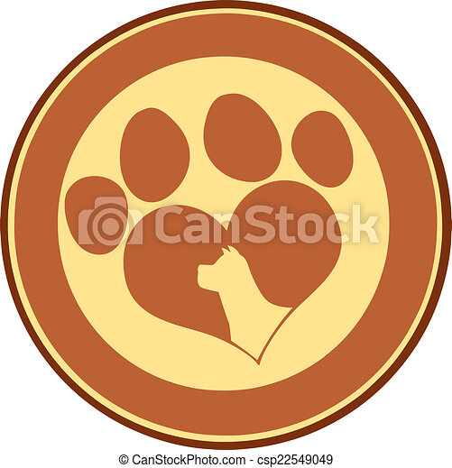 Love Paw Print Brown Circle Banner - csp22549049