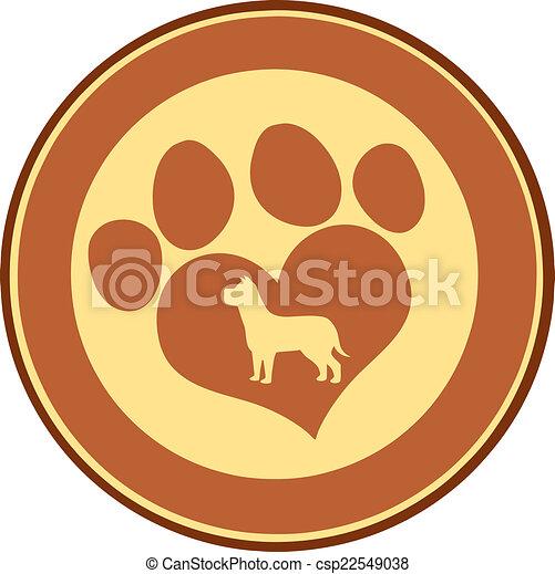 Love Paw Print Brown Circle Banner - csp22549038