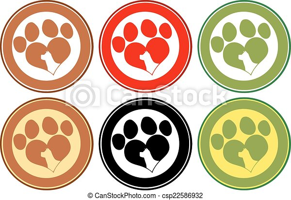 Love Paw Print Circle Banners - csp22586932