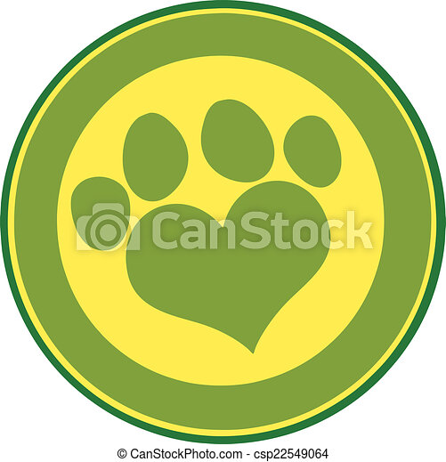 Love Paw Print Green Circle Banner - csp22549064
