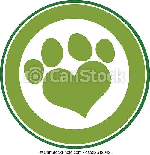 Love Paw Print Green Circle Banner - csp22549042