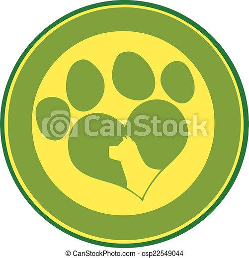 Love Paw Print Green Circle Banner - csp22549044