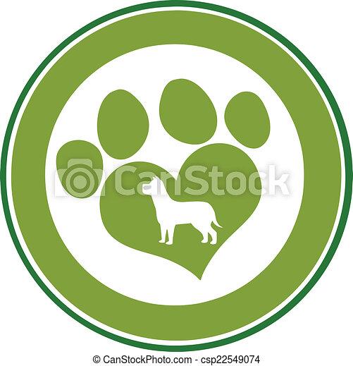 Love Paw Print Green Circle Banner - csp22549074