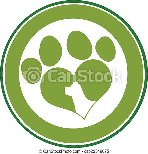 Love Paw Print Green Circle Banner - csp22549075