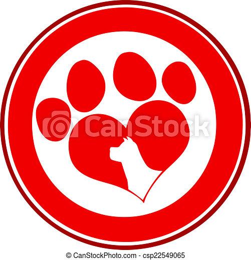 Love Paw Print Red Circle Banner - csp22549065