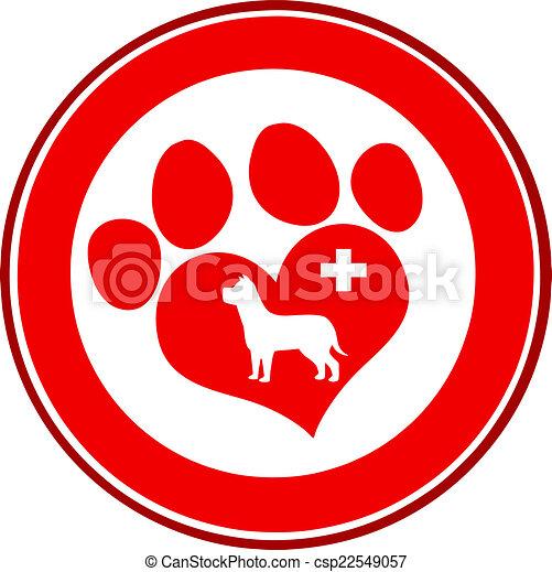 Love Paw Print Red Circle Banner - csp22549057
