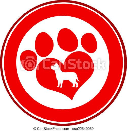 Love Paw Print Red Circle Banner - csp22549059
