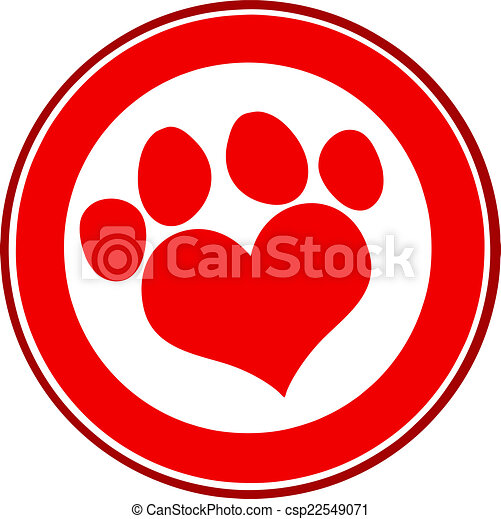 Love Paw Print Red Circle Banner - csp22549071
