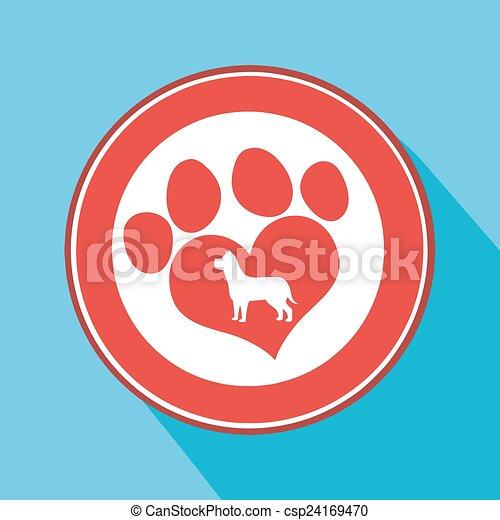 Love Paw Print Red Circle Icon - csp24169470