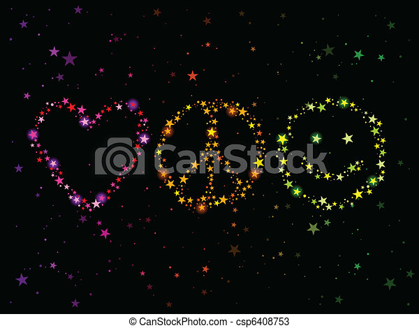 Love Peace And Happiness Constellations Forming Love Peace And