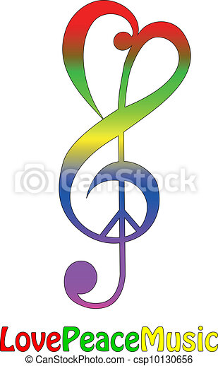 Love peace and music, isolated  - csp10130656