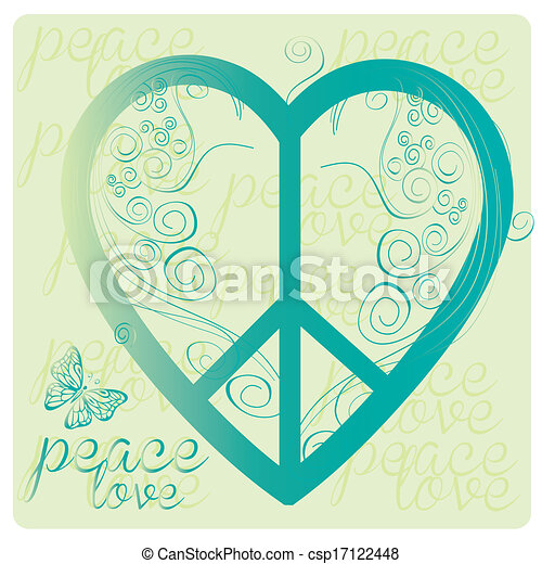 Love Peace Symbol A Blue Peace Symbol As A Heart With Some Text
