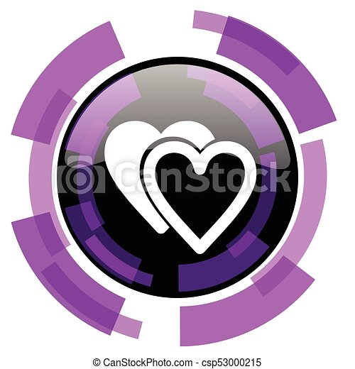 Love pink violet modern design vector web and smartphone icon. Round button in eps 10 isolated on white background. - csp53000215