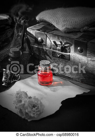 Love poison, red drink in bottle  Magic concept