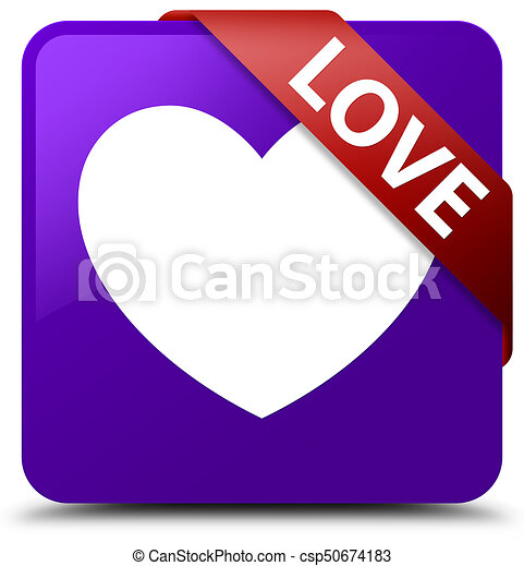 Love purple square button red ribbon in corner - csp50674183