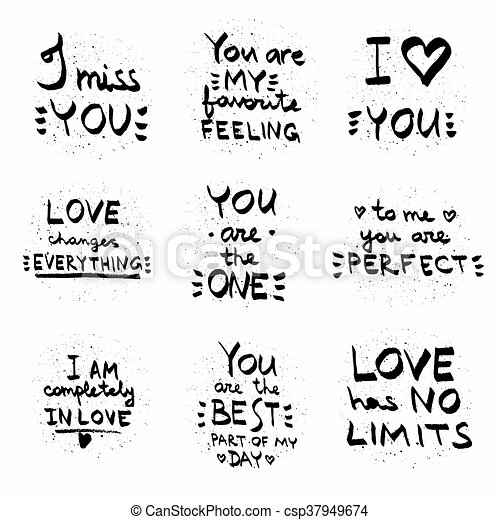 Love Quotes Black On White Vectortext Written On Painted Background