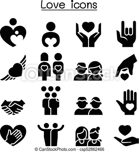 Love, relationship, friend, family icon set.