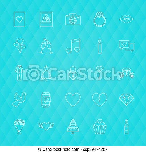 Love Romance Line Icons - csp39474287