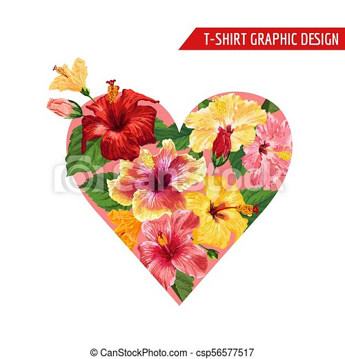 Love Romantic Floral Heart Design With Red And Yellow Hibiscus